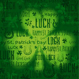 Grunge green background for Patricks day with shamrock, vector Stock Photography