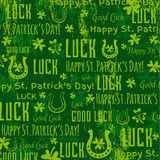 Grunge green background for Patricks day with shamrocks, vector Royalty Free Stock Images