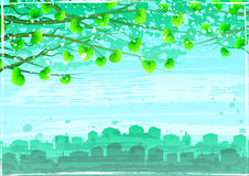 Grunge green ecological city under tree branches vector illustration