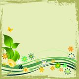 Grunge green floral frame Stock Photos