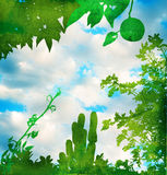 Grunge green garden with sky stock illustration