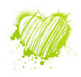 Grunge green heart Stock Images