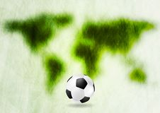Grunge green map and football Stock Images