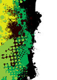 Grunge green splat. Shades of green in an ink splat background with halftone dots vector illustration