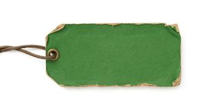 Grunge green tag with brown thread. On white background Stock Photography