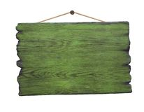 Grunge green wood signboard hanging on nail stock images