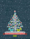 Grunge grey background with christmas tree and wis. Hes text, vector illustration Stock Images