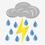Grunge grey cloud with lightning and rain icon. Cartoon illustration of clouds with lightning and rain vector icon for web. stock illustration