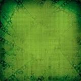 Grunge groene achtergrond met oud digitaal ornament Stock Fotografie