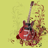 Grunge guitar. Abstract floral grunge guitar,background. Abstract  Concert poster.Vector illustration in AI-EPS8 format Royalty Free Stock Image