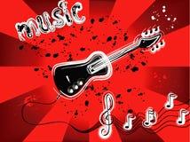 Grunge guitar. On rays background Royalty Free Stock Photo