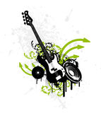 Grunge Guitar. E-Guitar on a splatter background Royalty Free Stock Images