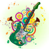 Grunge guitar. Grunge vector music background for design use Royalty Free Stock Image