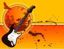 Grunge Guitar Background. Floral grunge guitar sunset background Stock Images