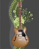 Grunge guitar background. Vector grunge background with abstract floral design and electric guitar Stock Photography