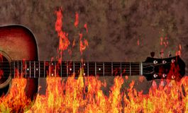 Grunge Guitar and Flames Stock Photo