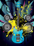 Grunge Guitar and Loudspeakers Royalty Free Stock Photography