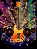 Grunge Guitar with Loudspeakers Royalty Free Stock Photography