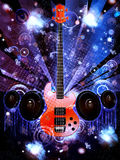 Grunge Guitar with Loudspeakers Royalty Free Stock Photo