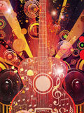 Grunge Guitar with Loudspeakers Stock Images