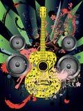 Grunge Guitar and Loudspeakers Stock Image