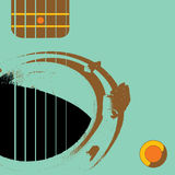 Grunge guitar with manhole. A manhole functions as a sound hole in a illustrated grunge guitar.  Also available in vector format Royalty Free Stock Photos