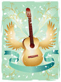 Grunge Guitar Pattern. Vector grunge guitar pattern with wings, plants and ribbon for sample text on sea-green background Royalty Free Stock Image
