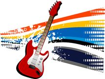 Grunge guitars. Guitar on grungy equalizer background Royalty Free Stock Image