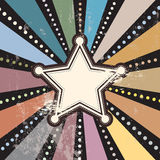 Grunge gwiazda na retro sunbeam Obrazy Stock