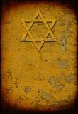 Grunge ha bruciato la priorità bassa ebrea con la stella di david Immagine Stock