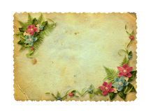 Grunge ha intagliato la cartolina con le orchidee illustrazione di stock