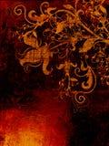 Grunge ha strutturato il contesto con gli elementi floreali Fotografia Stock Libera da Diritti