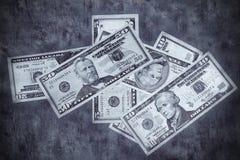 Grunge ha strutturato la priorità bassa dei dollari US Fotografie Stock Libere da Diritti