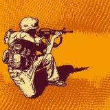 Grunge Halbtonhintergrund mit Soldaten mit einer Gewehr Stockfotografie