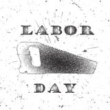 Grunge halftone black and white labor day banner of halftone dots. Typography lettering and saw with burst on a old textured background. Vector illustration for Royalty Free Illustration