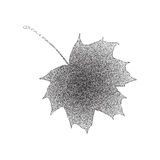 Grunge halftone black and white maple leaf isolated on a white background. Vector illustratoin with halftone dots. Texture for popart, trends design Vector Illustration