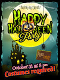 Grunge Halloween background. EPS 10. Grungy Halloween background with haunted house, bats and full moon. EPS 10 vector file included Stock Images