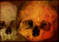 Grunge Halloween background with human skulls Royalty Free Stock Images