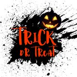 Grunge Halloween background with pumpkin. And trick or treat lettering Royalty Free Illustration