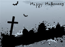 Grunge Halloween background with tombstones Royalty Free Stock Photo