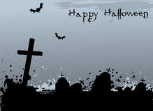 Grunge Halloween background with tombstones Stock Image