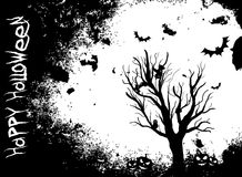 Grunge Halloween background with tree and bats Stock Photo