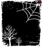 Grunge Halloween background with tree and spider Royalty Free Stock Image