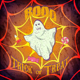 Grunge Halloween card or poster with ghost and candys. Grunge Halloween card or poster with ghost and candys - Trick or treat Stock Image