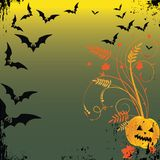 Grunge Halloween frame with bat, pumpkins. Royalty Free Stock Photography