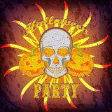 Grunge Halloween party card or poster with skull and pumpkins. Royalty Free Stock Photo