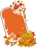 Grunge halloween pumpkin frame with autumn leaves Stock Images