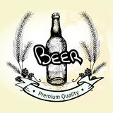 Grunge hand drawn beer bottle label, malt and badge with texts ' Stock Photography