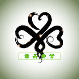 Grunge hand drawn clover for Happy St. Patricks Day.  Stock Photos