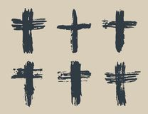 Grunge hand drawn cross symbols set. Christian crosses, religious signs icons, crucifix symbol vector illustration. Grunge hand drawn cross symbols set Royalty Free Stock Image